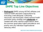dhpe top line objectives