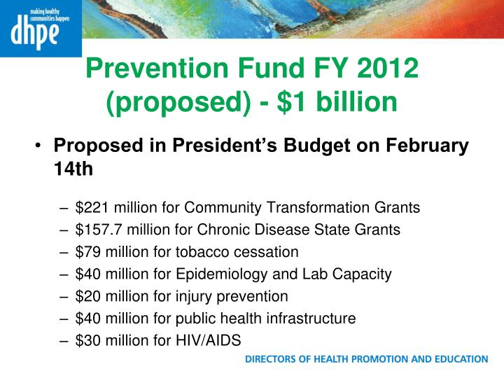 Prevention Fund FY 2012 (proposed) - $1 billion