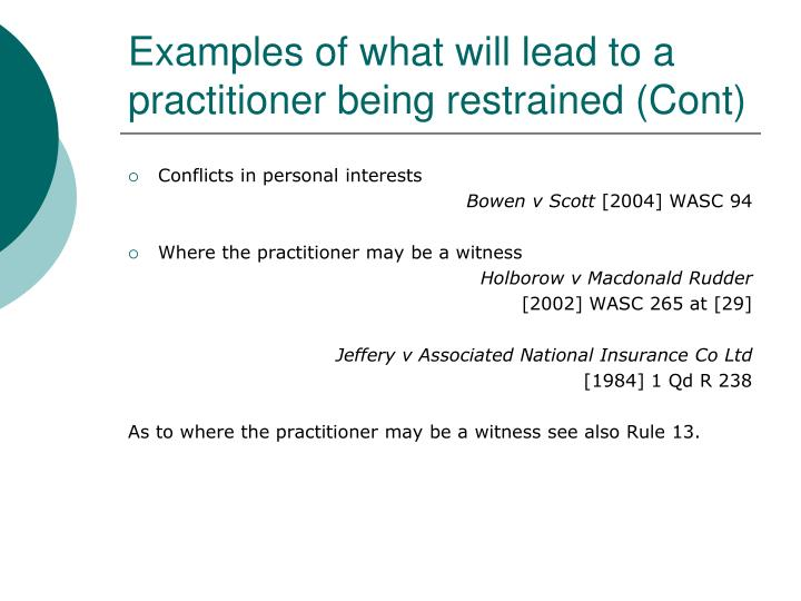 Examples of what will lead to a practitioner being restrained (Cont)