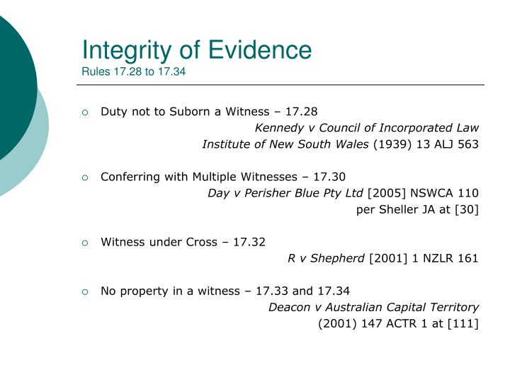 Integrity of Evidence