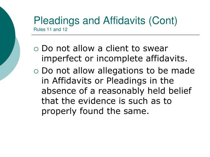Pleadings and Affidavits (Cont)