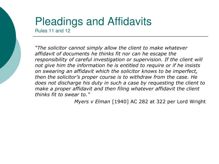 Pleadings and Affidavits