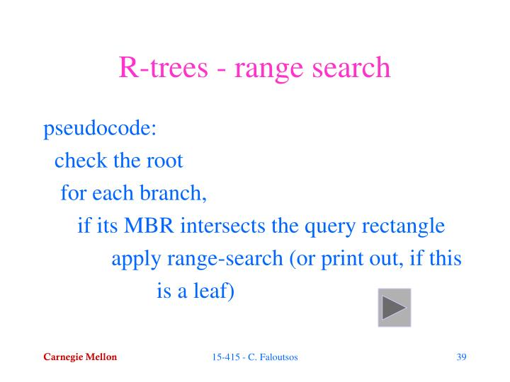 R-trees - range search