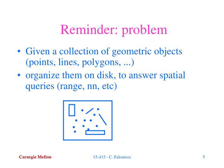 Reminder: problem