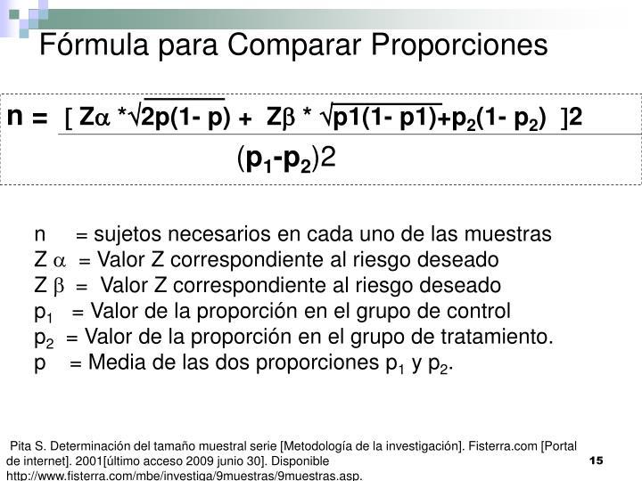 Fórmula para Comparar Proporciones