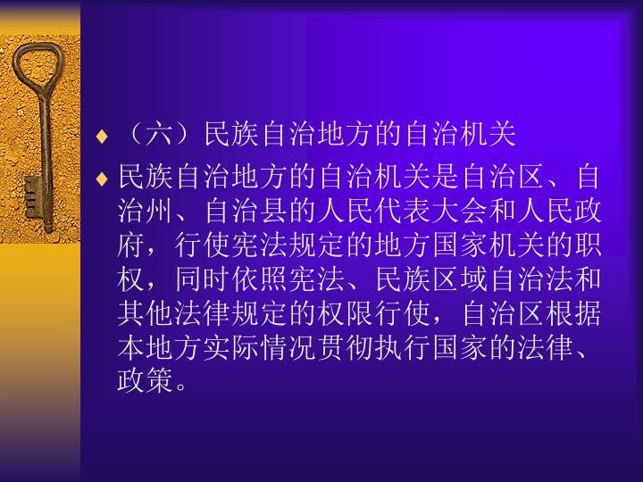 (六)民族自治地方的自治机关