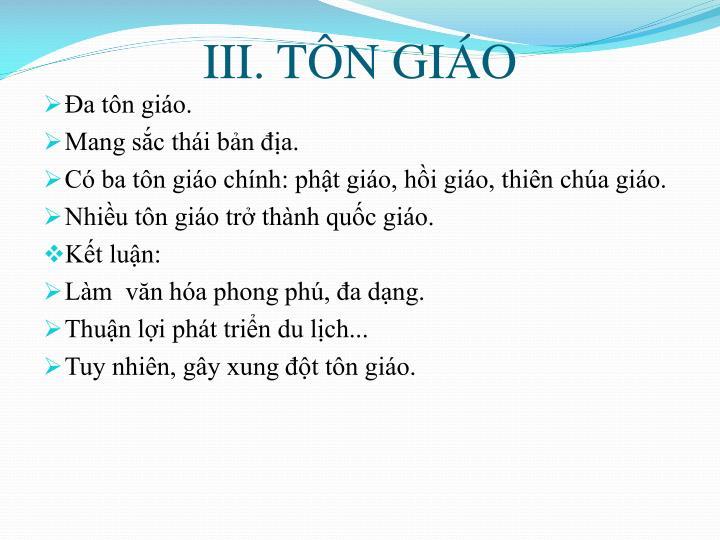 III. TÔN GIÁO