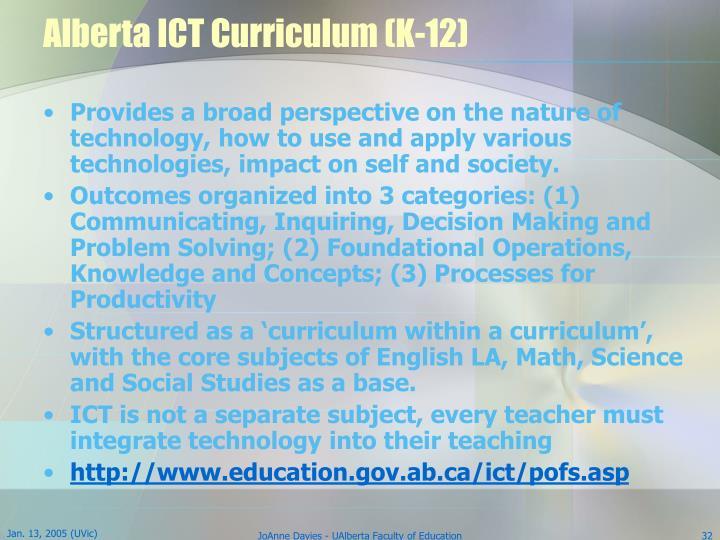 Alberta ICT Curriculum (K-12)