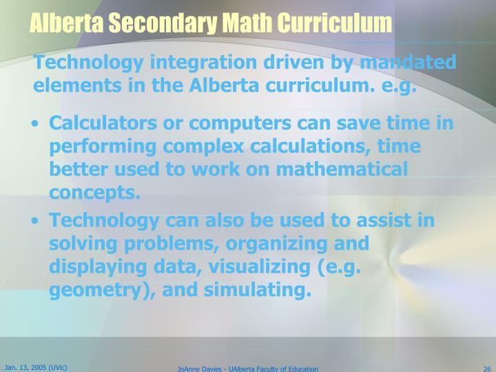 Alberta Secondary Math Curriculum