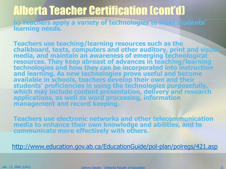 Alberta Teacher Certification (cont'd)