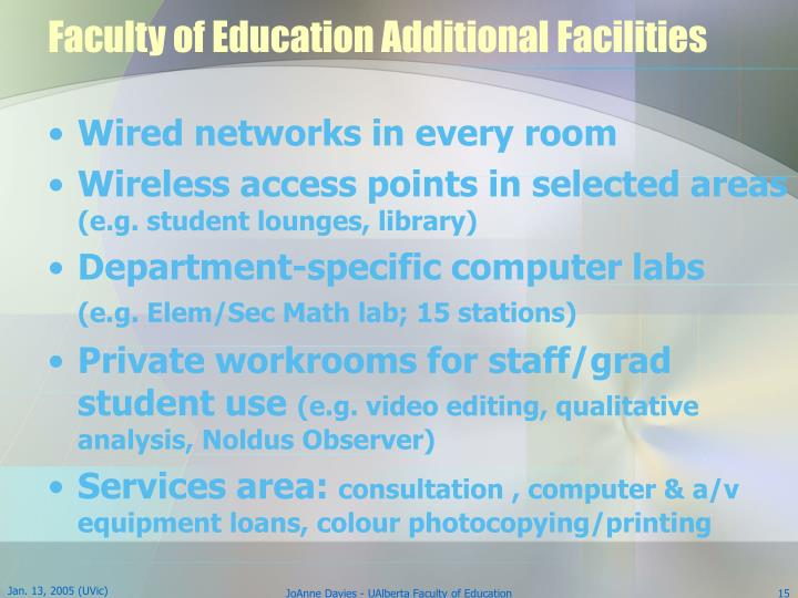Faculty of Education Additional Facilities