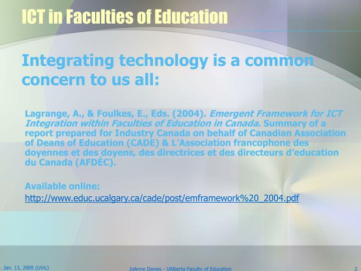 Ict in faculties of education