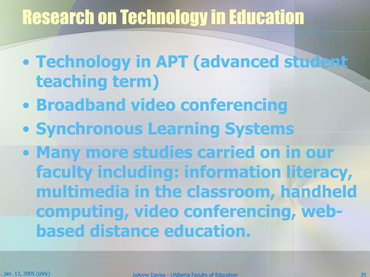 Research on Technology in Education