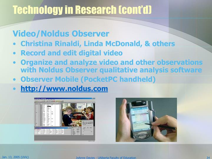 Technology in Research (cont'd)
