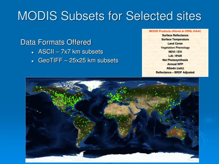 MODIS Subsets for Selected sites