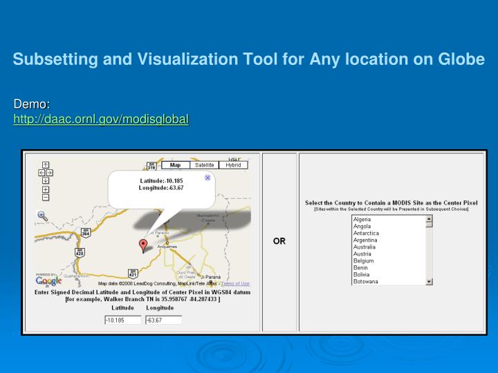 Subsetting and Visualization Tool for Any location on Globe