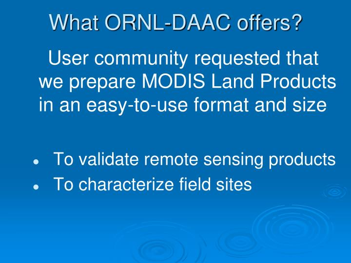 What ORNL-DAAC offers?