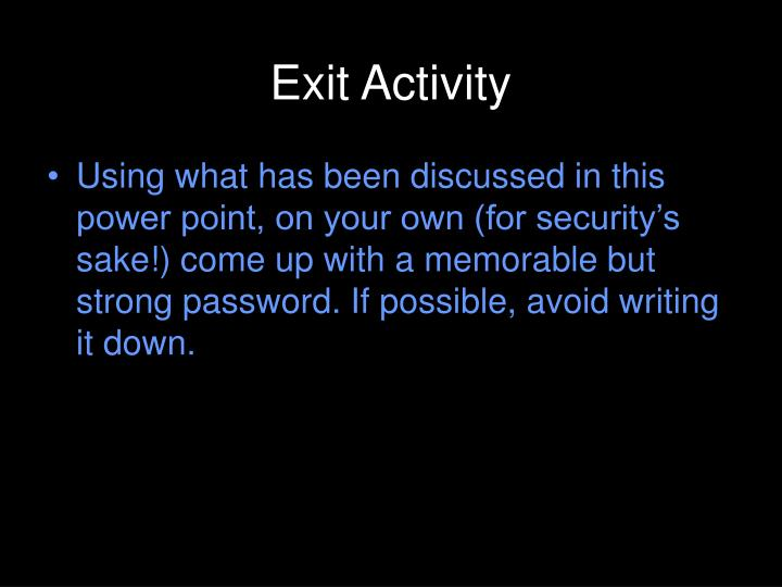 Exit Activity