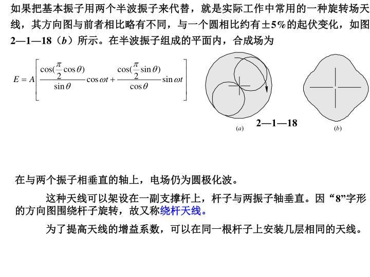 如果把基本振子用两个半波振子来代替,就是实际工作中常用的一种旋转场天线,其方向图与前者相比略有不同,与一个圆相比约有