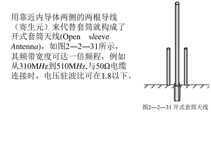 用靠近内导体两侧的两根导线(寄生元)来代替套筒就构成了开式套筒天线