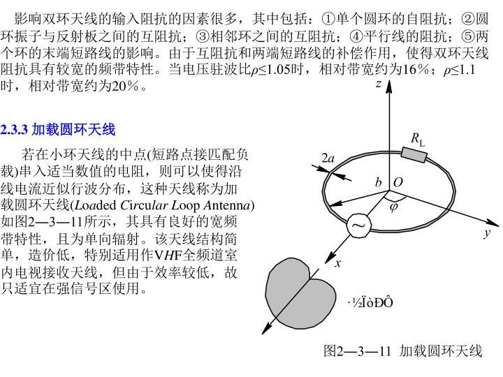 影响双环天线的输入阻抗的因素很多,其中包括:①单个圆环的自阻抗;②圆环振子与反射板之间的互阻抗;③相邻环之间的互阻抗;④平行线的阻抗;⑤两个环的末端短路线的影响。由于互阻抗和两端短路线的补偿作用,使得双环天线阻抗具有较宽的频带特性。当电压驻波比