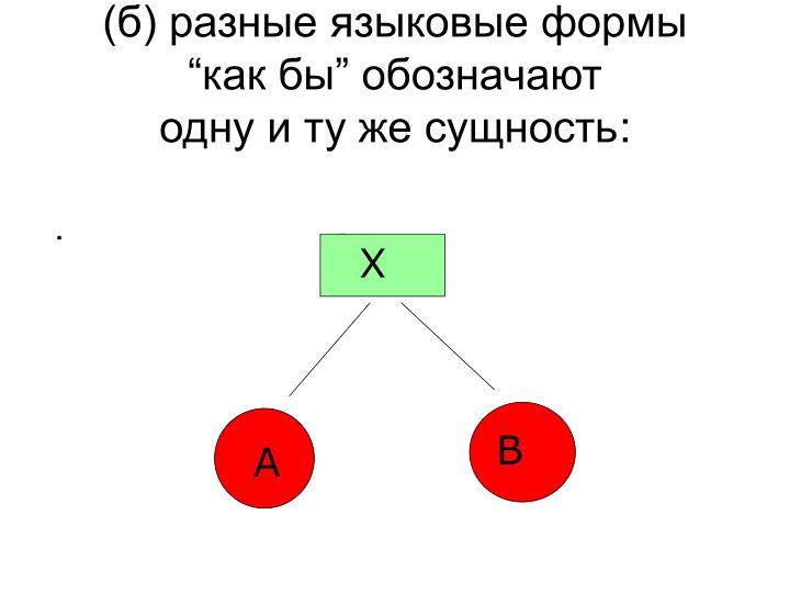 (б) разные языковые формы