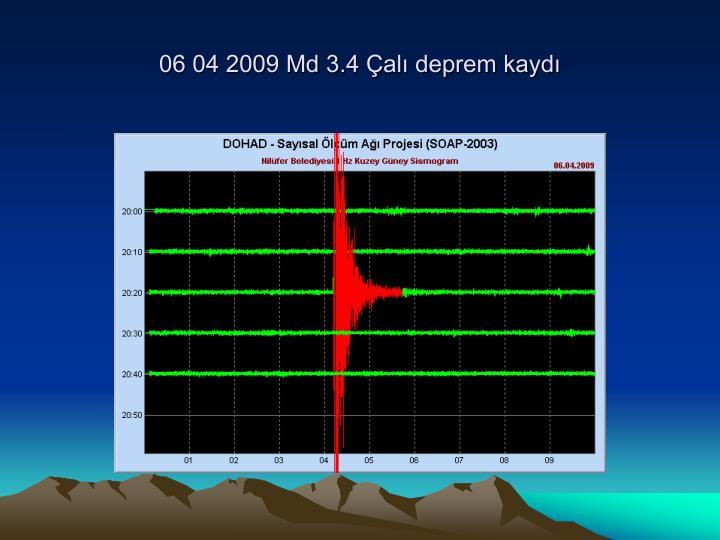 06 04 2009 Md 3.4 Çalı deprem kaydı
