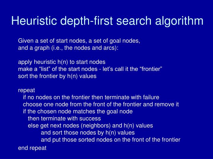 Heuristic depth-first search algorithm