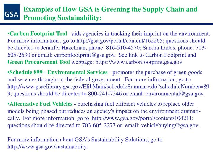 Examples of How GSA is Greening the Supply Chain and Promoting Sustainability: