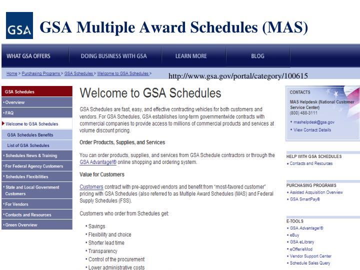 GSA Multiple Award Schedules (MAS)