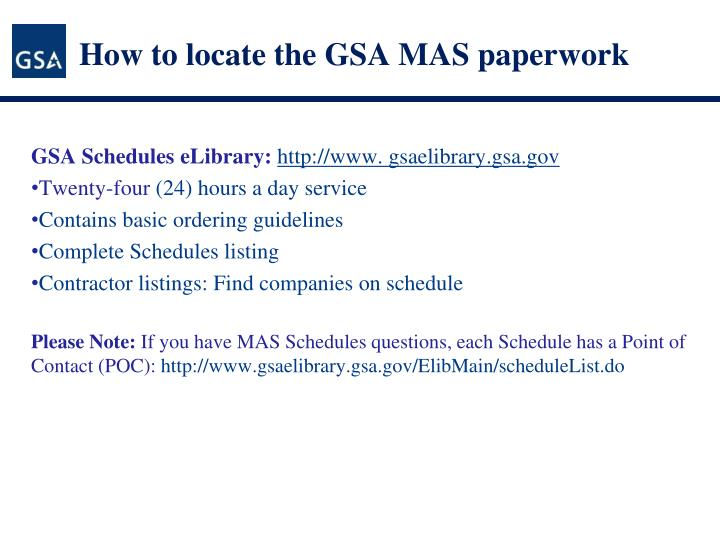 How to locate the GSA MAS paperwork