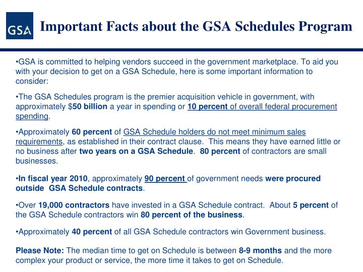 Important Facts about the GSA Schedules Program