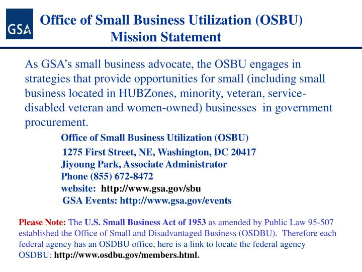 Office of small business utilization osbu mission statement