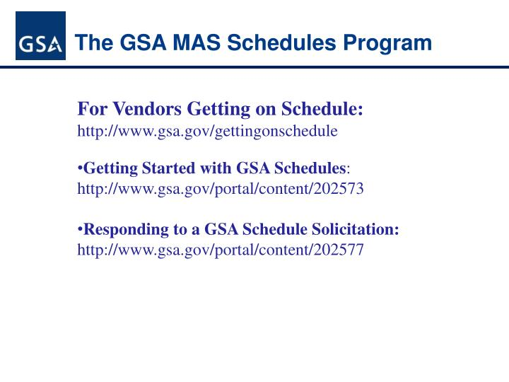 The GSA MAS Schedules Program