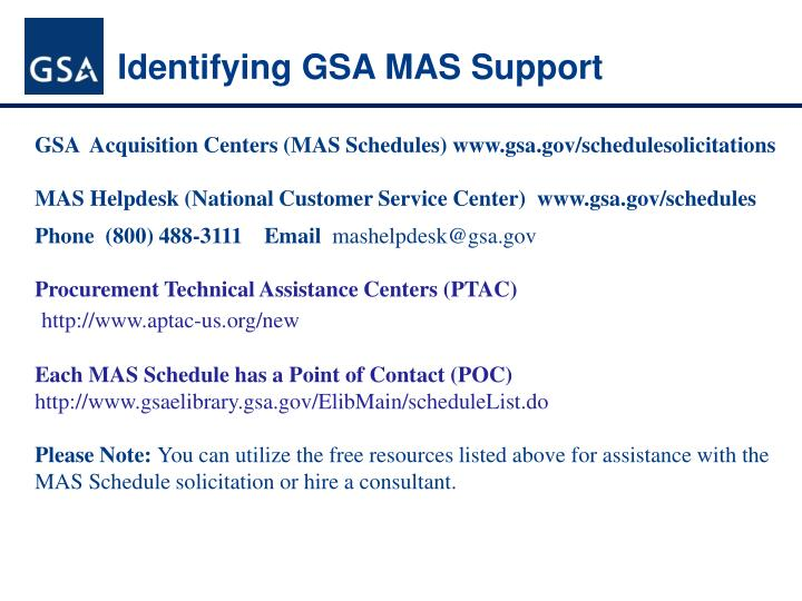 Identifying GSA MAS Support