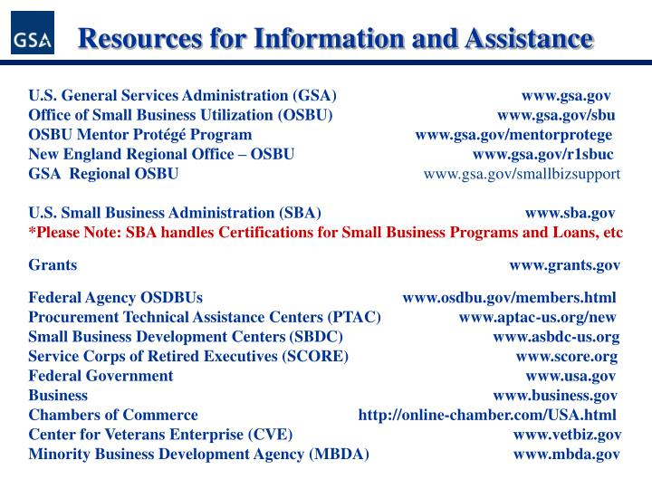 Resources for Information and Assistance