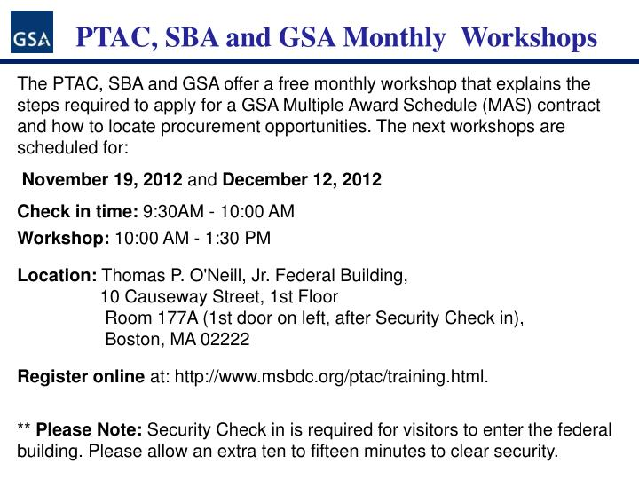 PTAC, SBA and GSA Monthly  Workshops