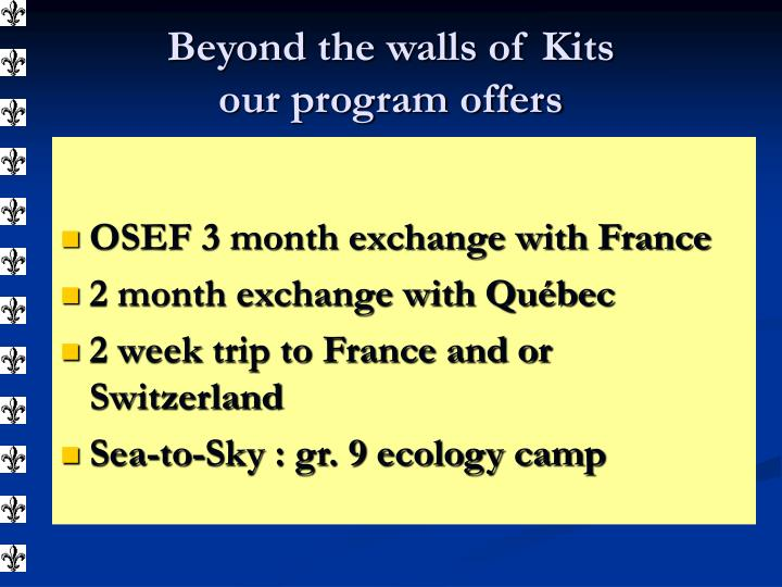 OSEF 3 month exchange with France