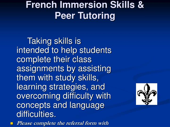French Immersion Skills &