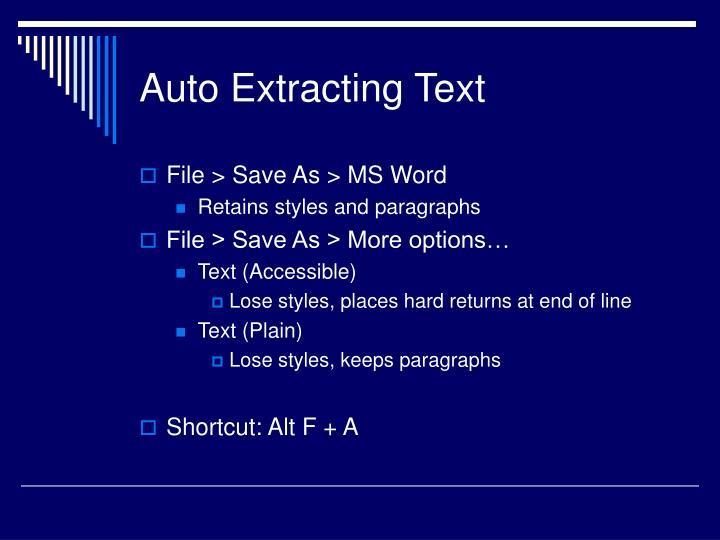 Auto Extracting Text