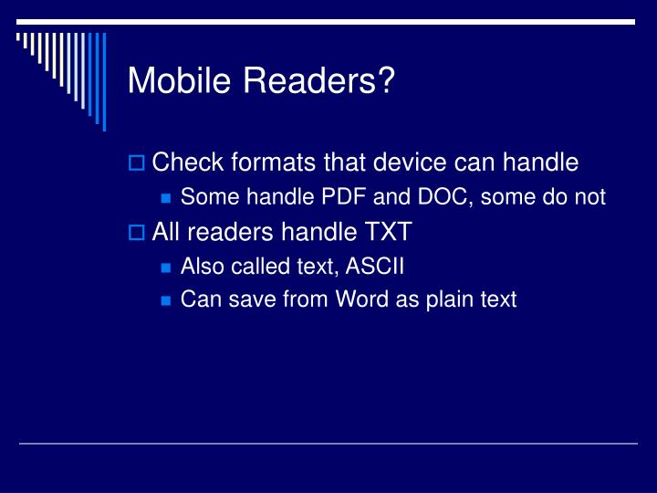 Mobile Readers?