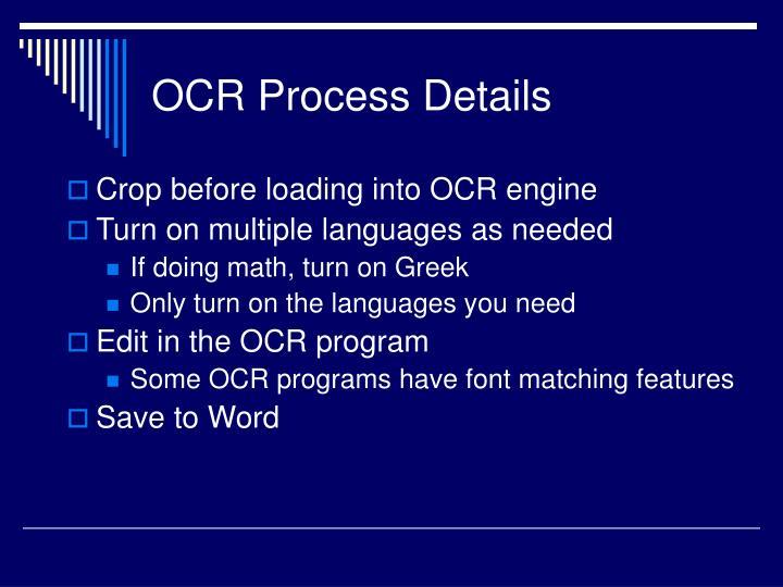 OCR Process Details