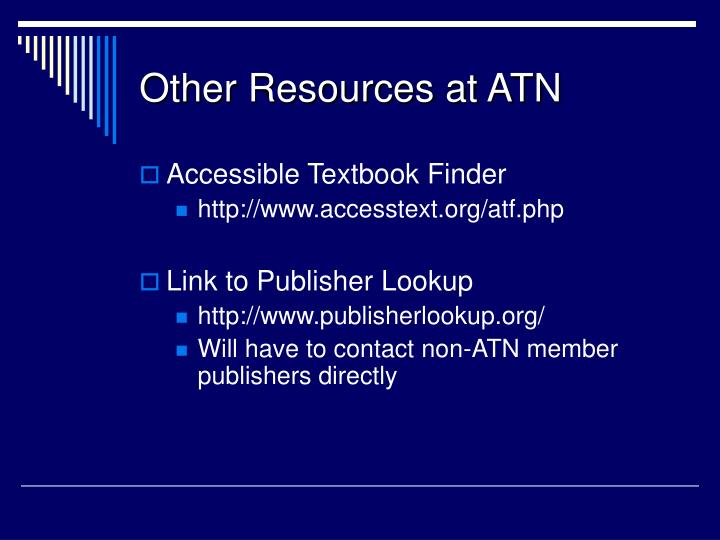 Other Resources at ATN