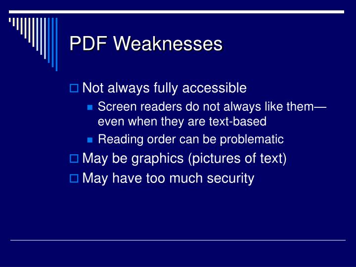 PDF Weaknesses