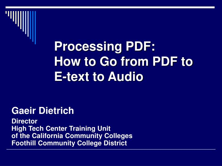processing pdf how to go from pdf to e text to audio