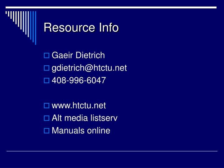 Resource Info