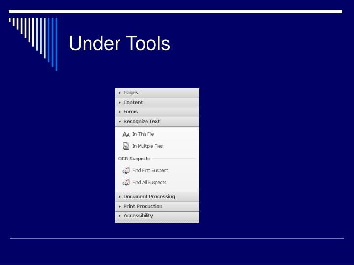 Under Tools
