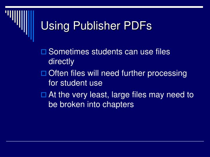 Using Publisher PDFs
