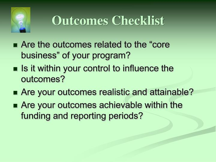Outcomes Checklist