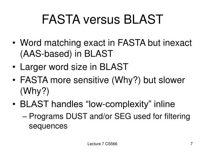 FASTA versus BLAST
